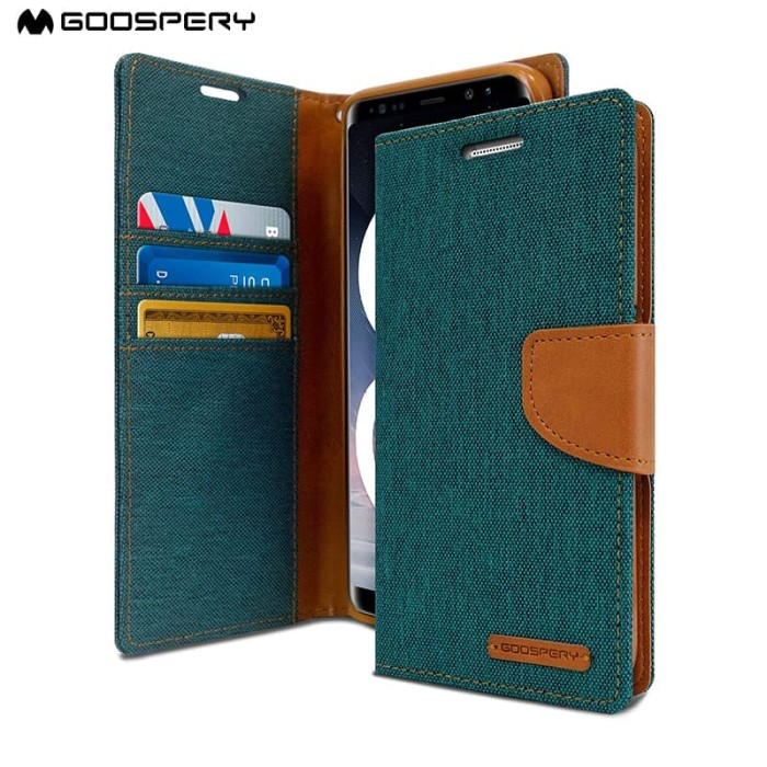 goospery samsung galaxy j7 prime canvas diary case - green