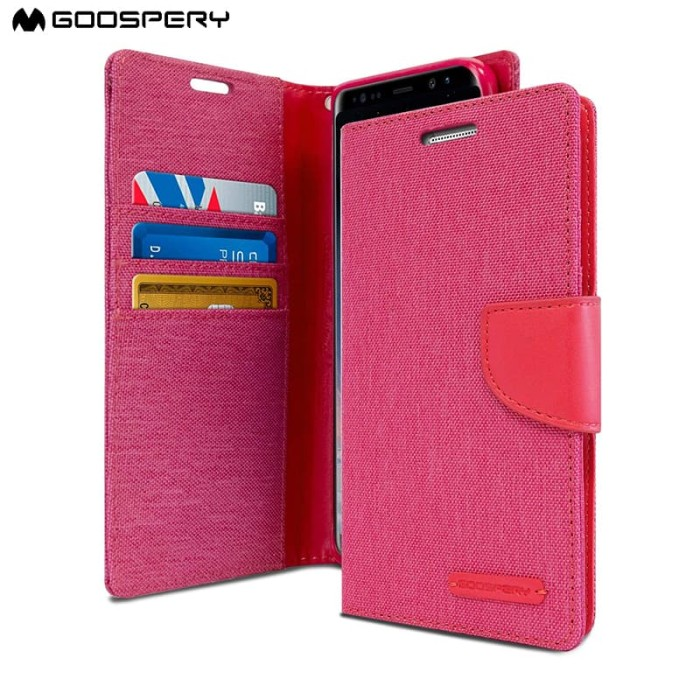 goospery samsung galaxy a5 2017 canvas diary case - pink