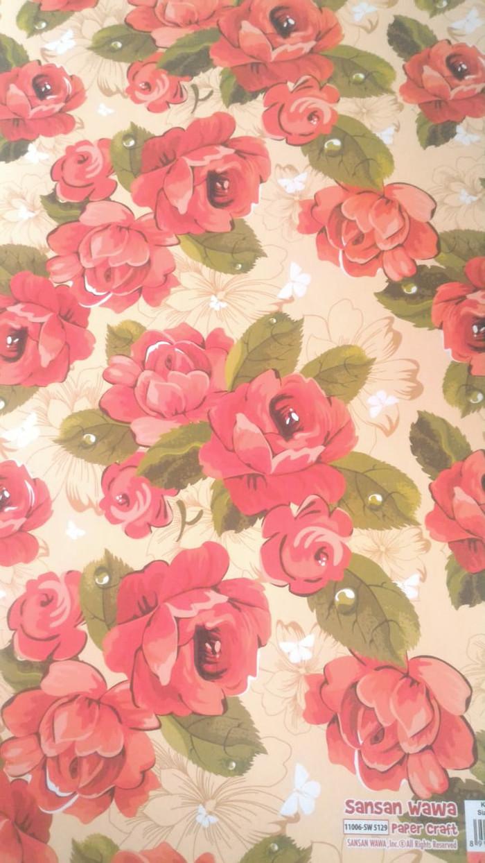 Jual Kertas Kado Sansan Wawa Sanwa Motif Bunga Mawar Merah Besar