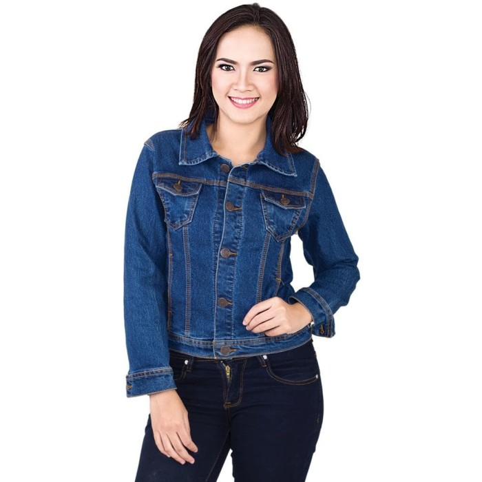 Jaket Jeans Denim Jacket Jeket Jins wanita Cewek Perempuan CW Polos - BLUE  BLACK 4edd6eea79