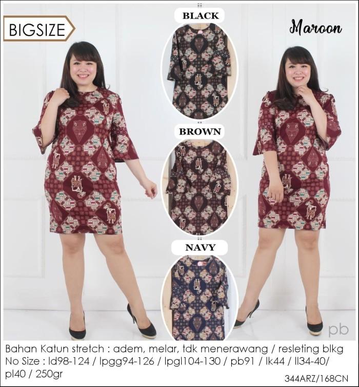 Review Dress Batik Jumbo Dress Batik Big Size Batik Kantor 168CN Di ... 370ad9fd4a