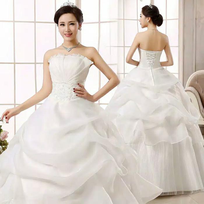 Jual Gaun Pernikahan Import Tanpa Ekor Wedding Bridal Ball Gown Dress Putih L Kota Semarang Tiara Clay Tokopedia