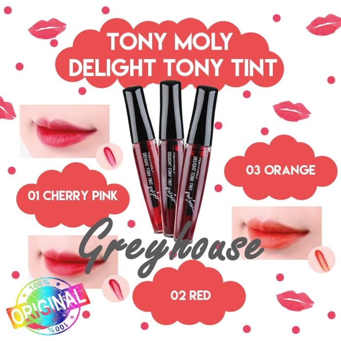TONYMOLY DELIGHT TONY TINT LIP TINT CHERRY PINK APPLE RED ORANGE ORI - Orange Chacha