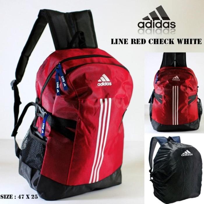 murah Tas ransel adidas line red check white free rain cover