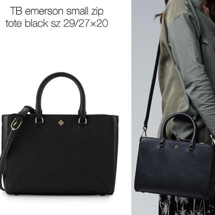 988335c64e7 Jual Tory Burch Emerson Small Zipper Tote Black - Kota Bekasi ...