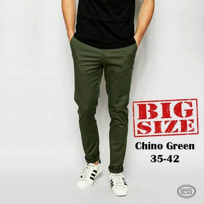 Foto Produk Celana Chino Hijau Army BIG SIZE-Green-JUMBO-35-36-37-38-39-40-41-42 dari fashion cowok bandung