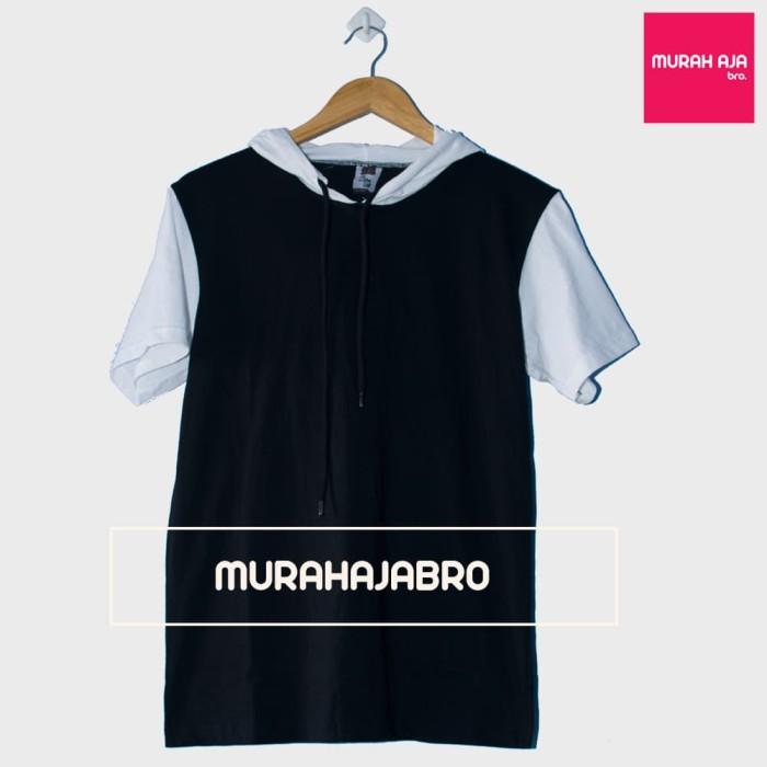 Baju kaos polos hoodie lengan pendek raglan - hitam putih(grosir)