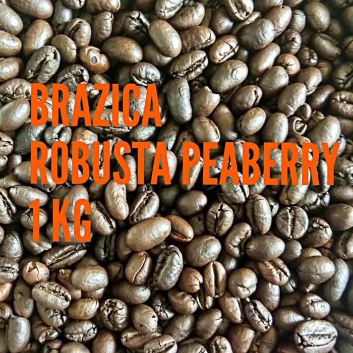 Kopi robusta lampung peaberry 1 kg  brazica  (biji/bubuk)