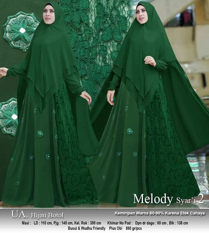 Gamis Hijau Botol Gambar Islami