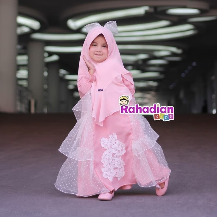 Jual Gamis Anak Pesta Pink Brokat Mewah Set Jilbab Little Queena