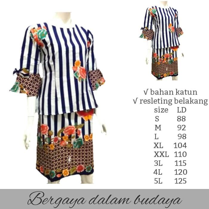 Jual Pakaian Batik Wanita Setelan Dress- BATIK DUA PUTRI - Navy 8da9cda748