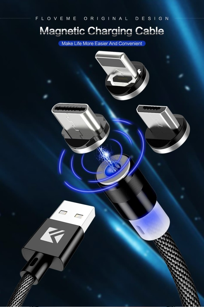 Jual Floveme Kabel Usb Charger Magnetik 3 In 1 Panjang 1 Meter