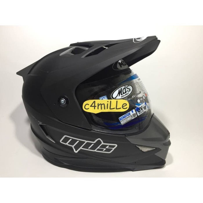 OTOMOTIF21 HELM MDS SUPER PRO SOLID BLACK DOP DOUBLE VISOR FULL CROSS