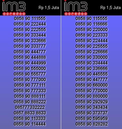 Nomor Cantik Indosat OOREDOO 0858 999999 XX