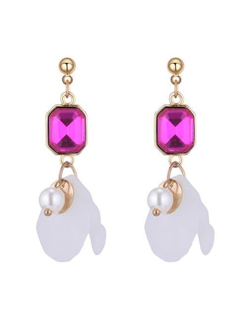 LRC Anting Tusuk Fashion White Petal Shape Decorated Earrings Y60079