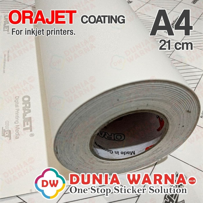 image regarding Printable Vinyl Sticker identified as Jual ORAJET Coating Vinyl Sticker Inkjet Printable WHITE MATTE A4 By means of ORAFOL - DKI Jakarta - Dunia Warna Stiker Tokopedia