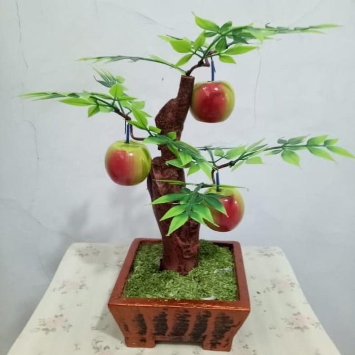 Buah kayu kecil vas kayu buah kayu artifisial hiasan dekorasi rumah - Apel Hijau