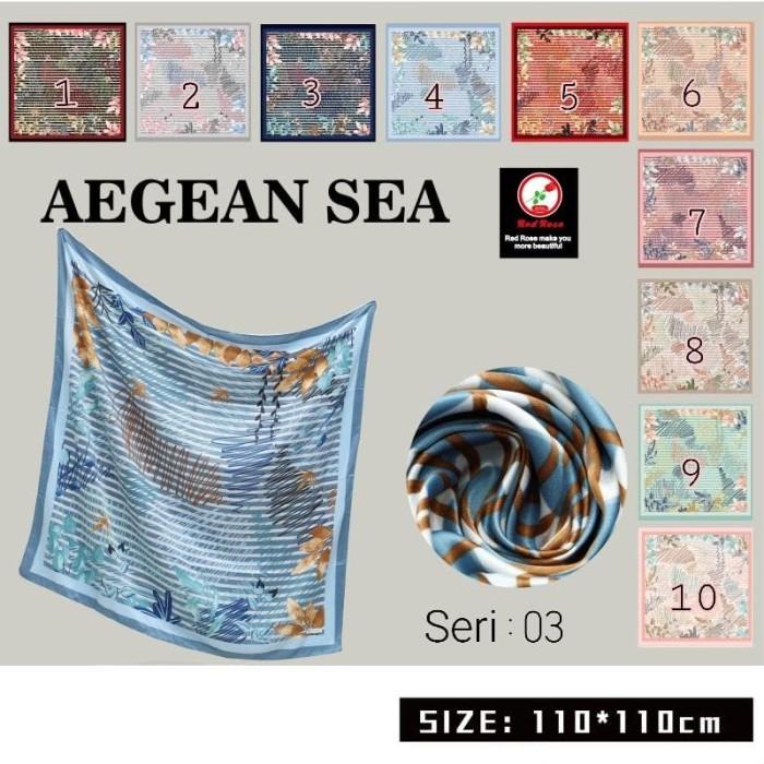 Jilbab segi empat satin velvet motif bunga - seri : aegean 03