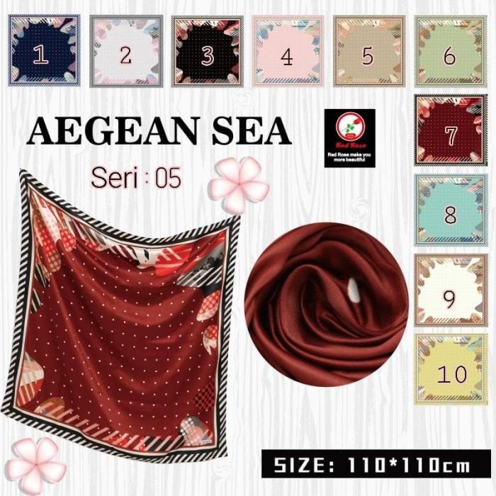 Jilbab segi empat satin velvet motif polkadot bunga - seri : aegean 05