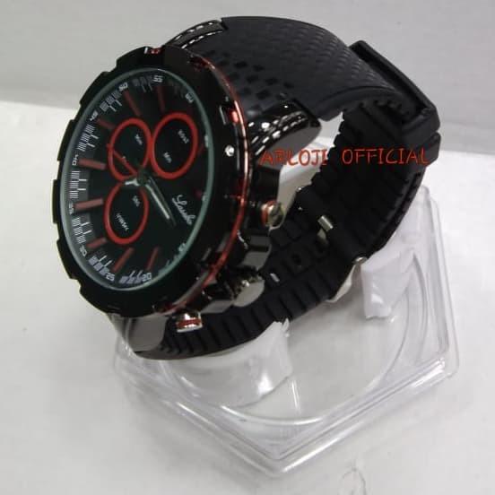Jam tangan pria Lasebo rubber LSB-8037 Original Dual Time list Merah