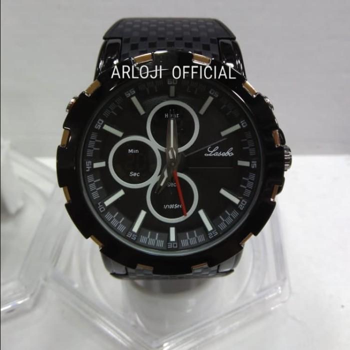 Jam tangan pria Lasebo rubber LSB-8037 Original Dual Time list Putih