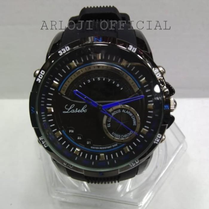 Jam tangan pria Lasebo Rubber LSB-208 Dual Time Original
