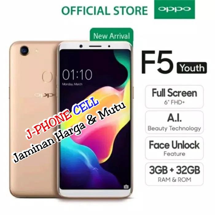 Foto Produk OPPO F5 YOUTH R3/32GB.GARANSI RESMI.SEGEL.Bonus Hard Case,Temper&iring - Hitam dari J-PHONE CELL