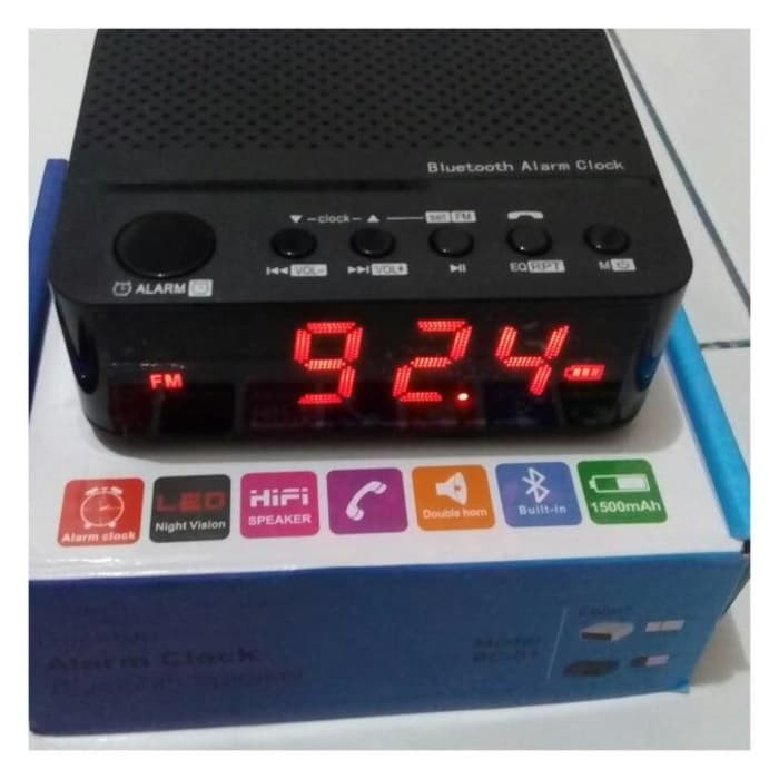 harga Speaker mini bluetooth radio fm - jam weker digital Tokopedia.com