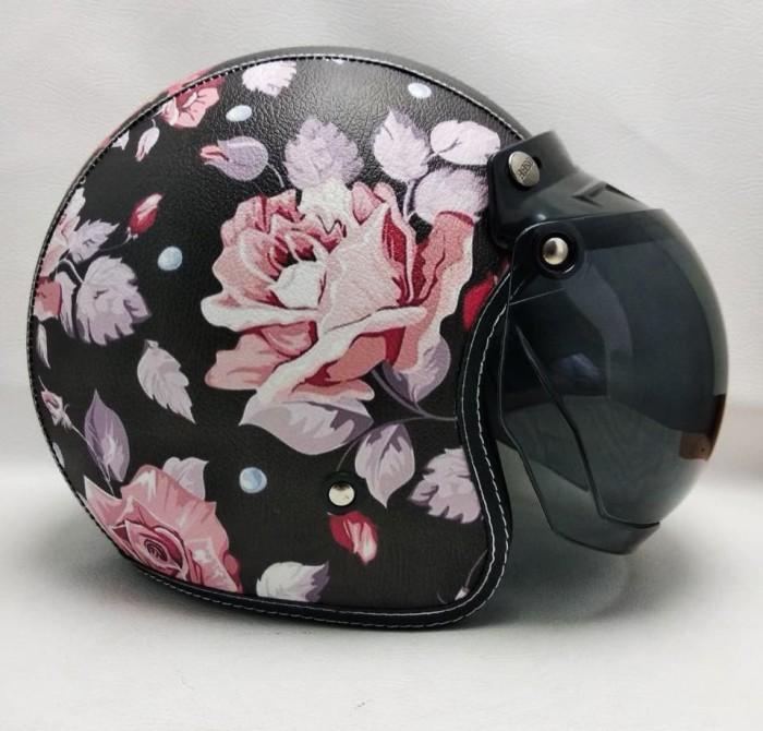 harga Helm retro bogo kulit dark rose kaca bogo halfface sni Tokopedia.com