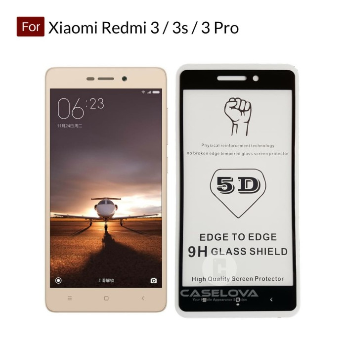 Full Cover Tempered Glass Warna 5D Xiaomi Redmi 3 / 3s / 3 Pro - Hitam