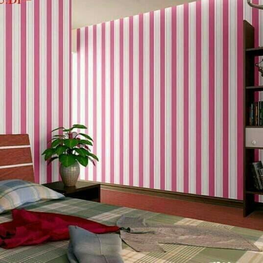 Jual Wallpaper Dinding Warna Warni Garis Merah Kota Madiun
