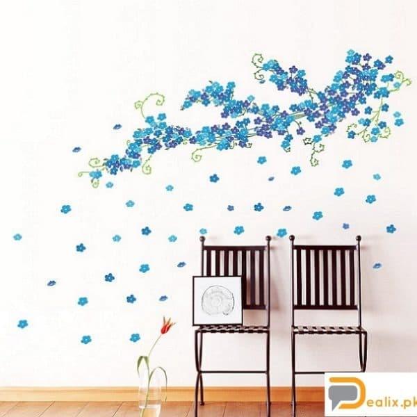 WALL STIKER 60X90 ZY046 BLUE LITTLE FLOWER WALSTIKER WALLSTICKER