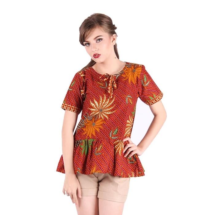 blouse baju batik wanita rianty batik blouse hanna red-size m