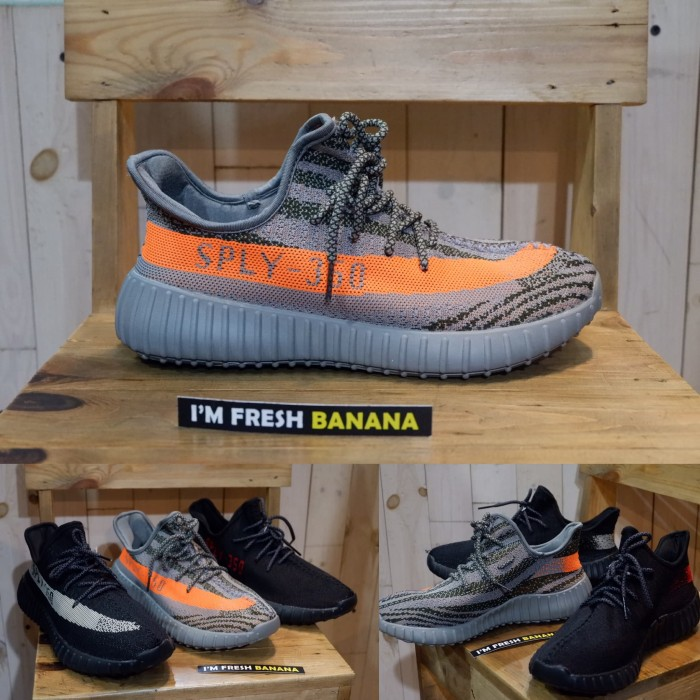 0f19e95ef18f2 Sepatu Adidas Yeezy Yezzy Boost SPLY - 350 V2 Beluga Grey Orange ++++