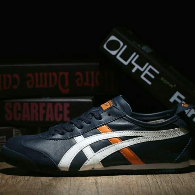 harga Sepatu asics tiger mexico 66 deluxe navy white orange leather mirror Tokopedia.com