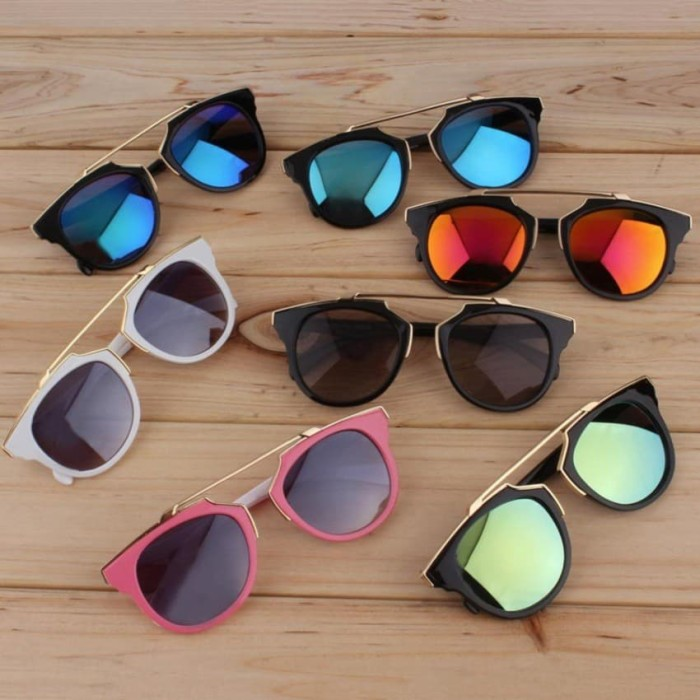 Cat Eye Retro Sunglasses - Kacamata Wanita - Hitam - CHF 008 BROWN