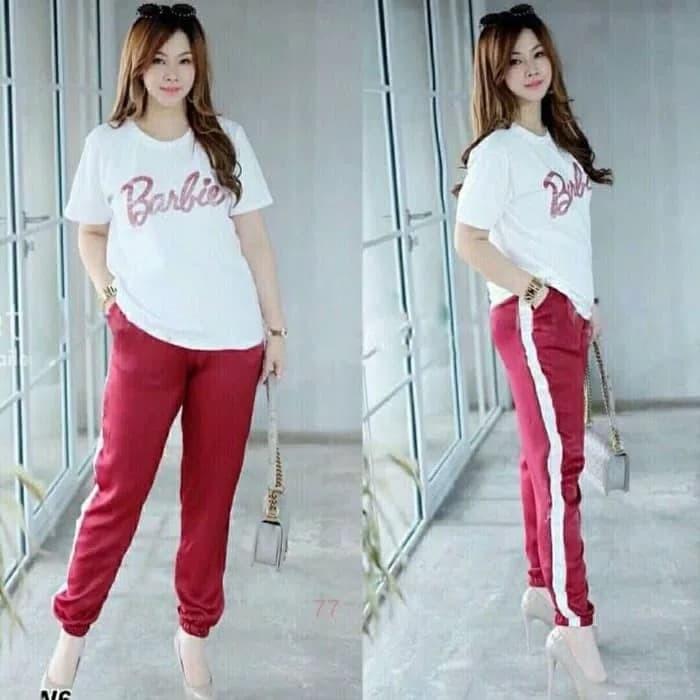 harga Setelan kaos celana baju olahraga wanita senam zumba aerobik merah Tokopedia.com