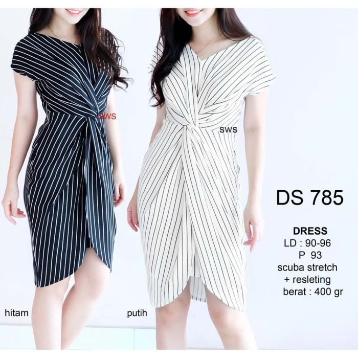Jual Grosir Seds785 Dress Salur Hitam Putih Dress Pesta Unik Murah