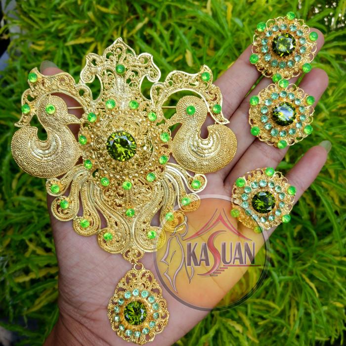 harga Set bros alpaka bali gold plated permata zircon asli Tokopedia.com