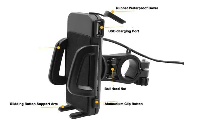 Motorcycle Cellphone Mount with USB Charger Wupp Motor Phone Holder