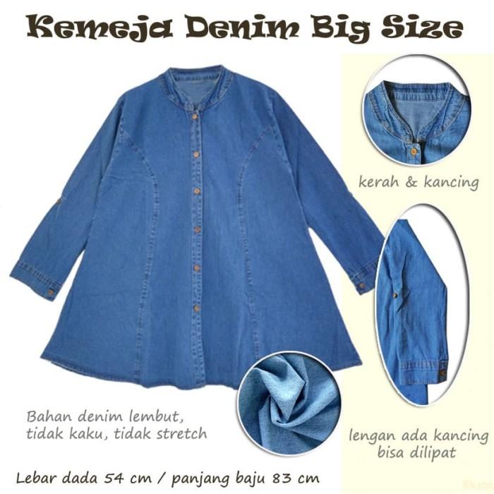 Atasan Kemeja Blus Jeans Denim Wanita Ukuran Besar Big Size Jumbo