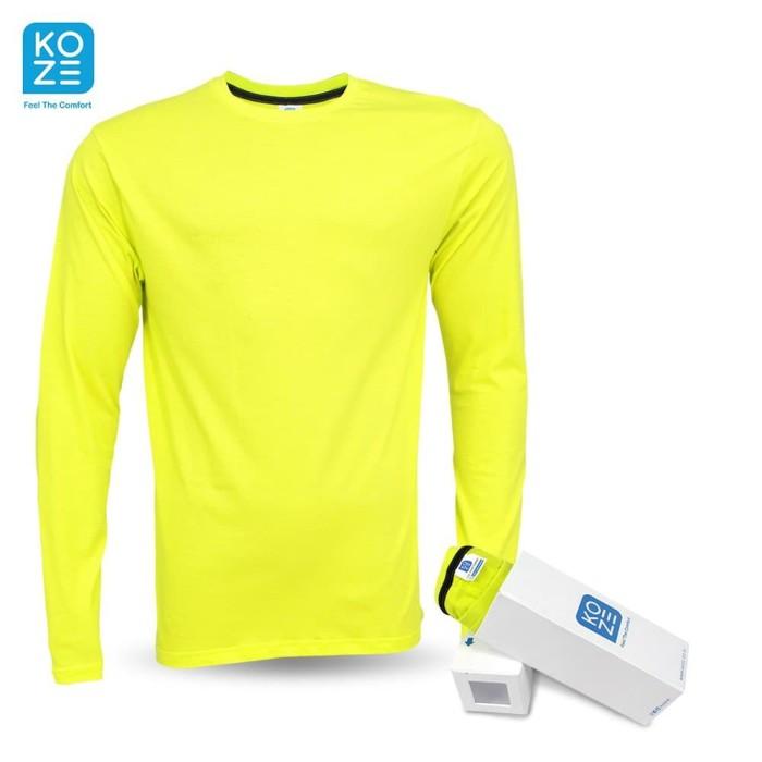 Foto Produk Kaos Polos Katun 30s Lengan Panjang Koze - Neon Yellow - Neon Yellow, L dari sabloncustom