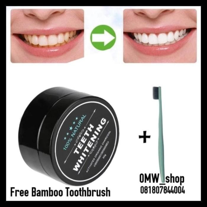 Jual New Produk Pemutih Gigi Charcoal Whitening Teeth Free Sikat