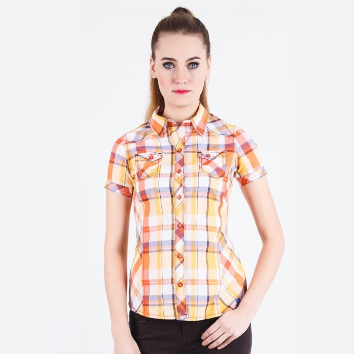 Lgs - slim fit - ladies shirt - yellow - short sleeve - kuning s