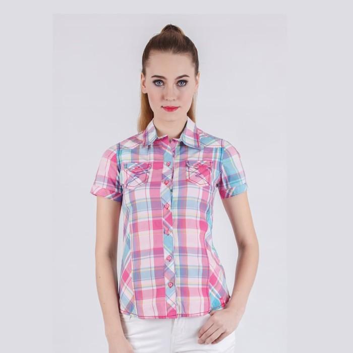 Lgs - slim fit - ladies shirt - red/blue - short sleeve - kombinasi s