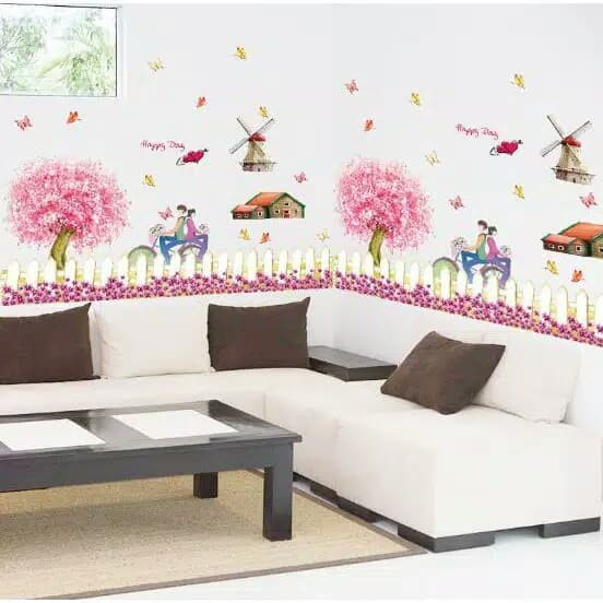 SK9008 Wall Sticker Romantic Cherry Fence (90x60) stiker dinding