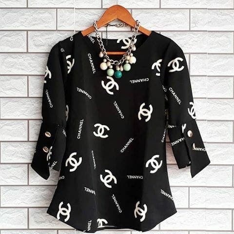 AG94 fit L blouse casual chaneel atasan wanita scuba strech import