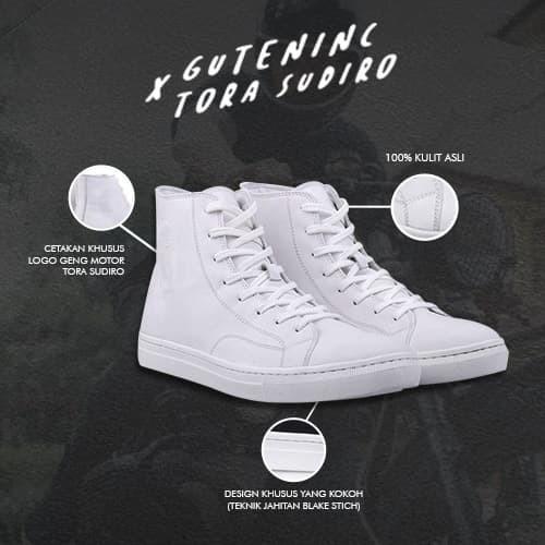 Guten inc - tora sudiro signature sneakers white / sneakers pria - hitam 44
