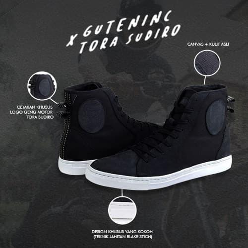 Guten inc - tora sudiro signature sneakers black / sneakers pria / - hitam 44