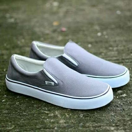 Jual Sepatu Slip On Pria Vans Slop Grey White Terbaru Terlaris